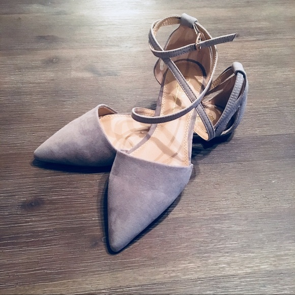 Nwt Rayna Grey Suede Pointed Flats